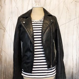 NWOT Zara Black Real Leather Jacket
